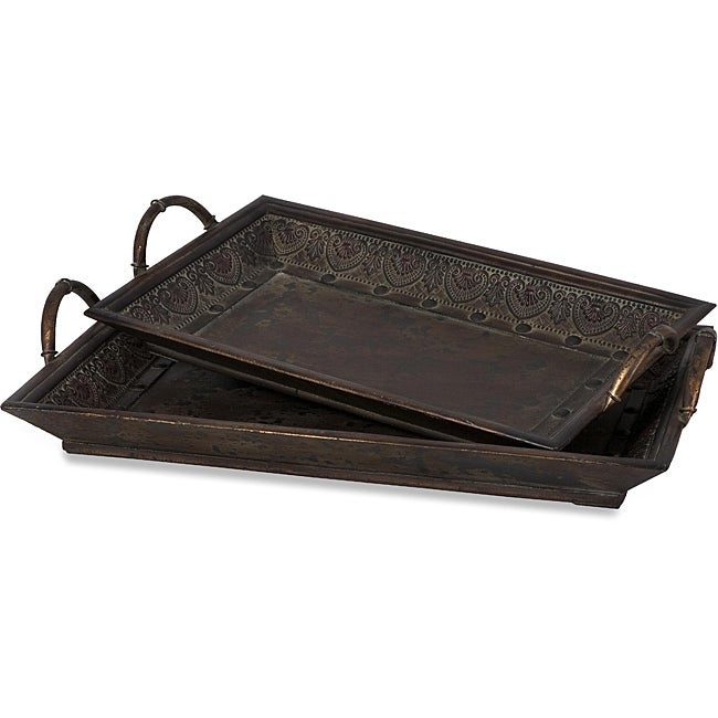 Set of 2 Wood Venice Maestro Trays