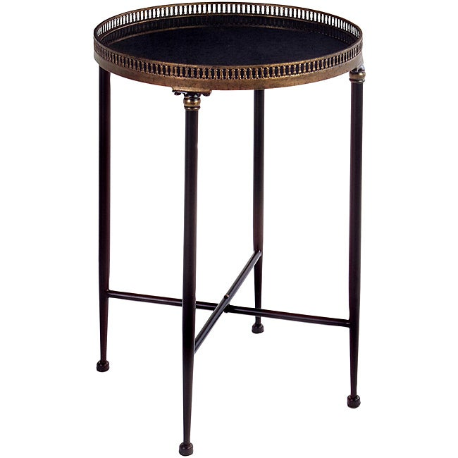 Argento Round Black Accent Table