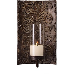 Iron and Glass Embossed Venice Sconce