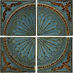 Set of 4 Iron Venice Royal Blue Viscounte Medallion Wall Panels
