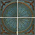 Set of 4 Iron Venice Royal Blue Viscounte Medallion Wall Panels