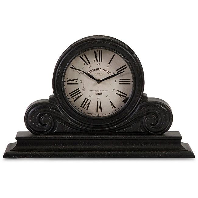 Wood Provence Carved Black Mantle Clock