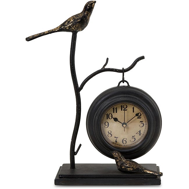 Iron Argento Feathered Friends Hanging Table Clock