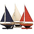 Set of 3 Pinewood Argento Racing Regatta Sailboats
