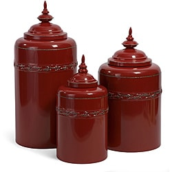 Set of 3 Provence La Siroque Red Canisters
