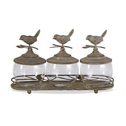 Americana, Feathered Friends Sparrow Canisters with Tray - (4)