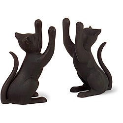 Set of 2 Aluminum Argento Feline Bookends