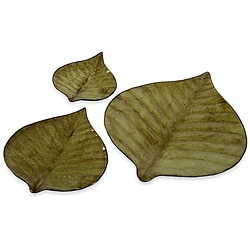 Set of 3 Regent Glass Banana Leaf Plates