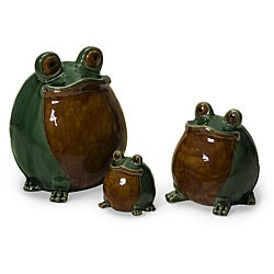 Ceramic Three Hippity-hoppity Frogs