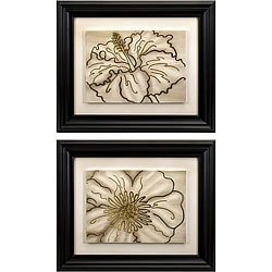 Two Framed Line Drawings Floral Art