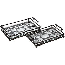 Metal Argento Scroll Work Trays (Set of 2)
