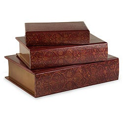 Set of 3 Venice Maestro Wooden Book Boxes
