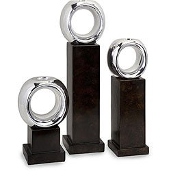 Set of 3 Argento Geometric Votive Candle Holders