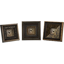 Set of 3 Venice Renaissance-style 3 x 3 Framed Clocks