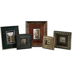 Set of 4 Antique Filigree Frames plus Table Clock