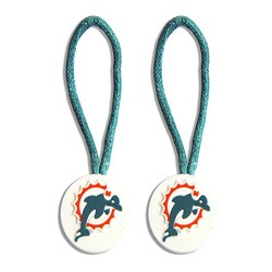 Miami Dolphins Zipper Pull Charm Luggage/ Pet ID Tags (Set of 2)