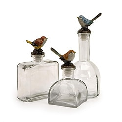 Set of 3 Glass Americana Natures Friends Clear Bottles