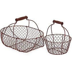 Set of 2 Iron Americana Country Egg Wire Baskets