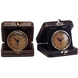 Set of 2 Regent Brown French Travel Clocks