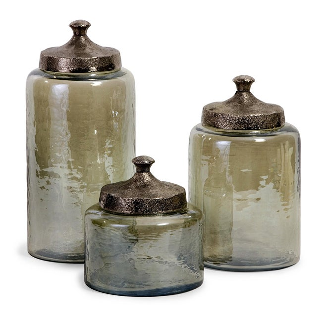 portofino round green hammered glass canisters set of 3