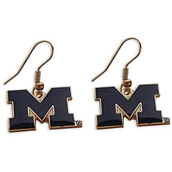 Michigan Wolverines Dangle Logo Earrings