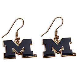 Michigan Wolverines Dangle Logo Earrings