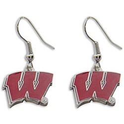 NCAA Wisconsin Badgers Dangle Logo Earrings