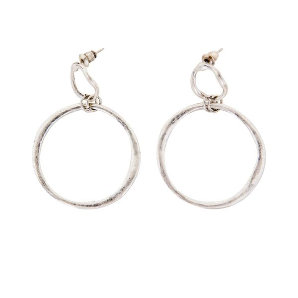 NEXTE Jewelry Silvertone Abstract Round Hammered Earrings