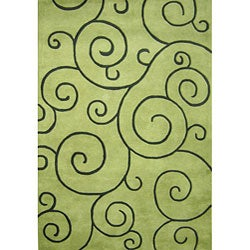 Alliyah Handmade Lime Green New Zealand Blend Wool Rug (4' x 6')