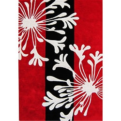 Hand-tufted Metro Classic Red/Black Wool Rug (8' x 10')