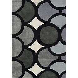 Hand-tufted Metro Circles Grey Wool Rug (5' x 8')