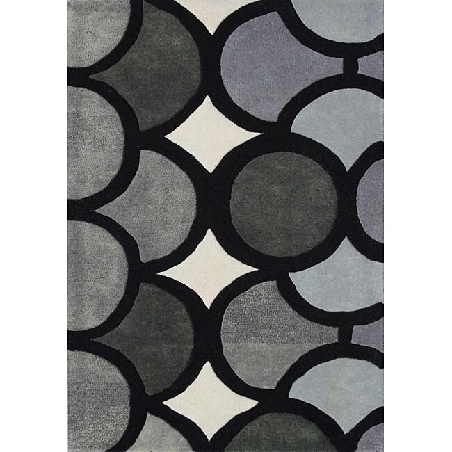 Alliyah Handmade Grey New Zealand Blend Wool Rug(8' x 10')