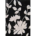 Hand-tuft Metro Flower Black/ Light Grey Wool Rug (5' x 8')