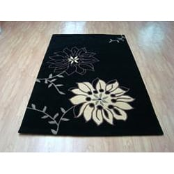 Hand-tufted Metro Flower Black/ Beige Wool Rug (8' x 10')