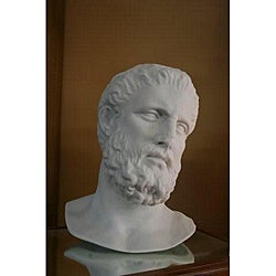 White Bonded Marble 12-inch Hippocrates Museum Replica Head
