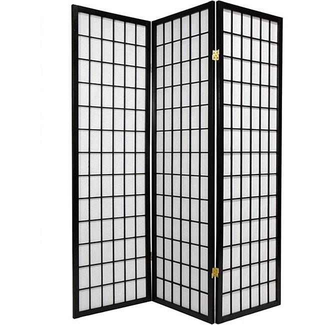 Oriental Shoji 3-panel Black Room Divider Screen