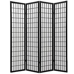Oriental Shoji 4-panel Black Room Divider Screen