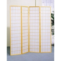 Oriental Shoji 4-panel Natural Room Divider Screen