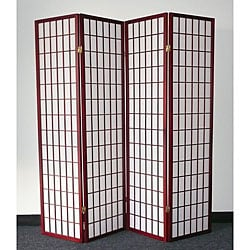 Oriental Shoji 4-panel Cherry Room Divider Screen