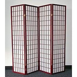 Oriental Shoji 4-panel Cherry Room Divider Screen