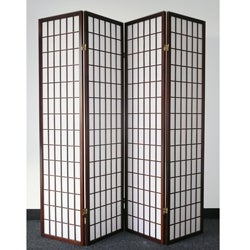 Oriental Shoji 4-panel Cappuccino Room Divider Screen