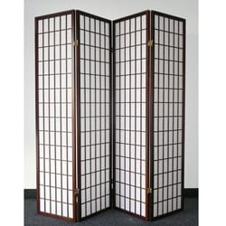 Oriental Shoji 4-panel Cappuccino Room Divider Screen