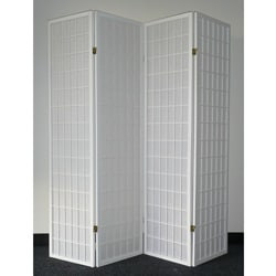 Oriental Shoji 4-panel White Room Divider Screen