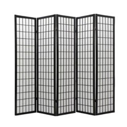 Oriental Shoji Black 5-panel Room Divider Screen
