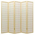 Oriental Shoji 5-panel Natural Room Divider Screen