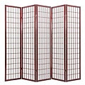 Oriental Shoji 5-panel Cherry Room Divider Screen