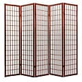 Oriental Shoji 5-panel Cappuccino Room Divider Screen