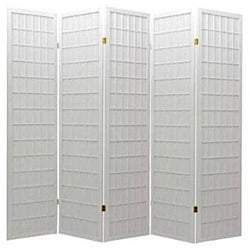 Oriental Shoji 5-panel White Room Divider Screen