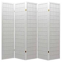 Oriental Shoji 5-panel White Room Divider Screen