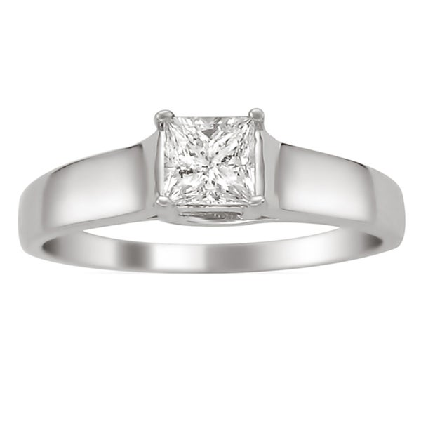 14k White Gold 1/4ct TDW Certified Princess Cut Diamond Ring (H-I, I1)